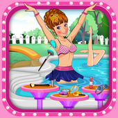 pool party  spa and makeover icon