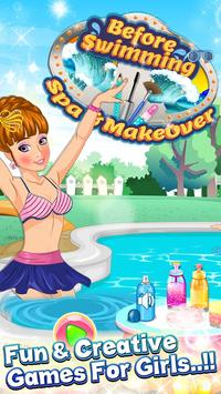 pool party  spa and makeover poster