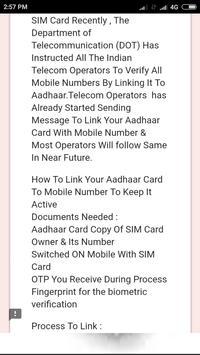 Mobile sim to Aadhar apk screenshot
