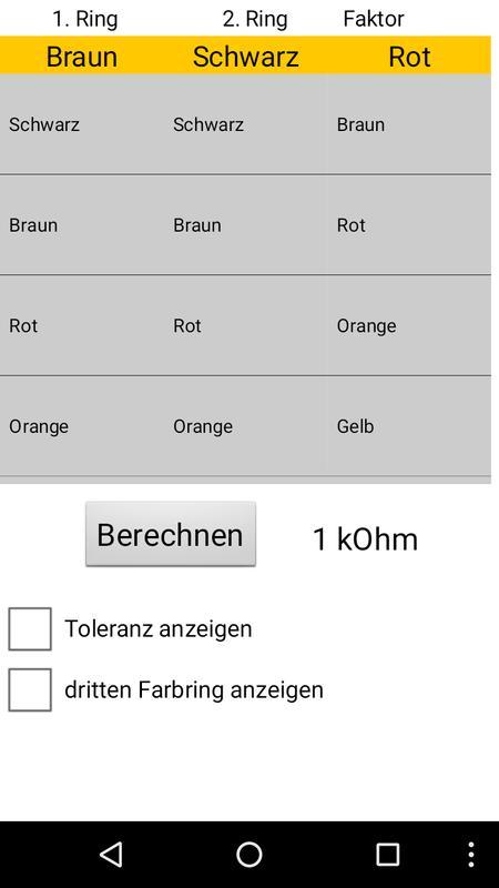 widerstands farbcode berechnen for android apk download. Black Bedroom Furniture Sets. Home Design Ideas