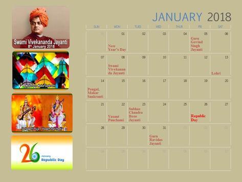 Calendar 2018 India poster