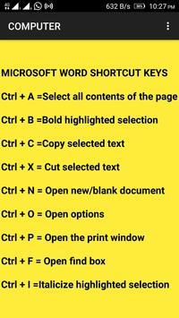 COMPUTER SHORTCUT KEYS FOR CPCT 2018 screenshot 1