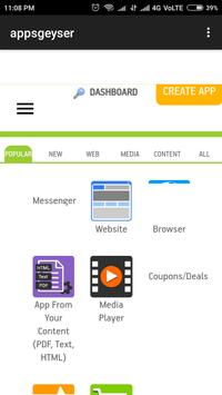AppsGeyser Official app - Make your own apps free apk screenshot
