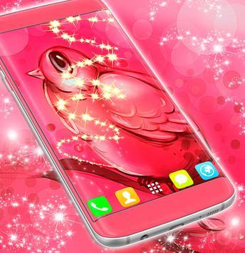 Cute Pink Bird Wallpaper poster