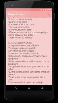 Despacito Lyrics 2017 apk screenshot