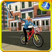 Newspaper Cycle Delivery Girl icon