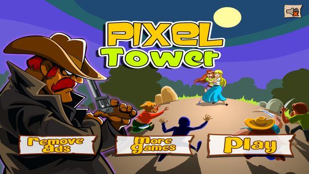 Cowboy Pixel Tower FREE poster