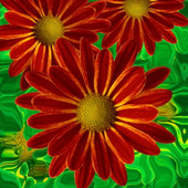 Beautiful flowers on green icon