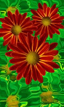 Beautiful flowers on green poster