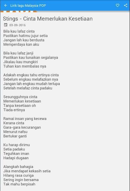 Lirik Lagu Pop Malaysia Para Android Apk Baixar