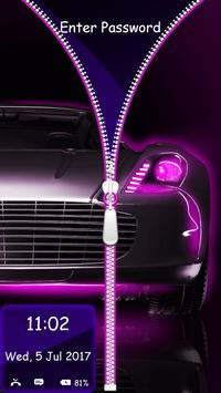 Neon Cars Lock Screen Zipper poster