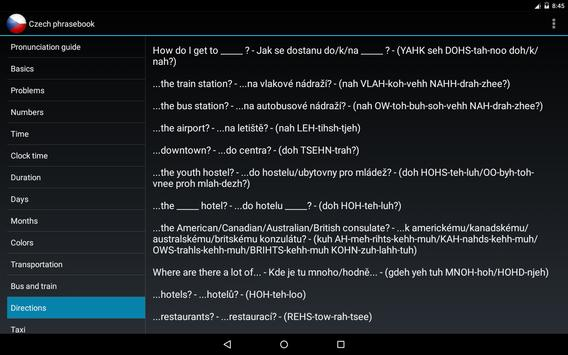 Czech phrasebook apk screenshot