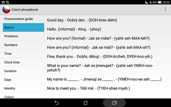 Czech phrasebook screenshot 5