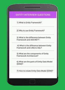 ENTITY FRAMEWORK INTERVIEW QUESTIONS poster