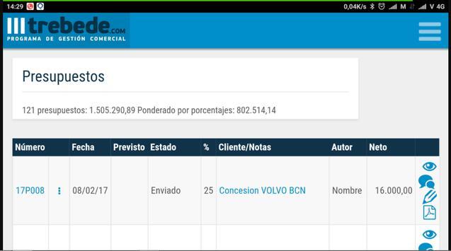 Programa gestión comercial TREBEDE CRM apk screenshot
