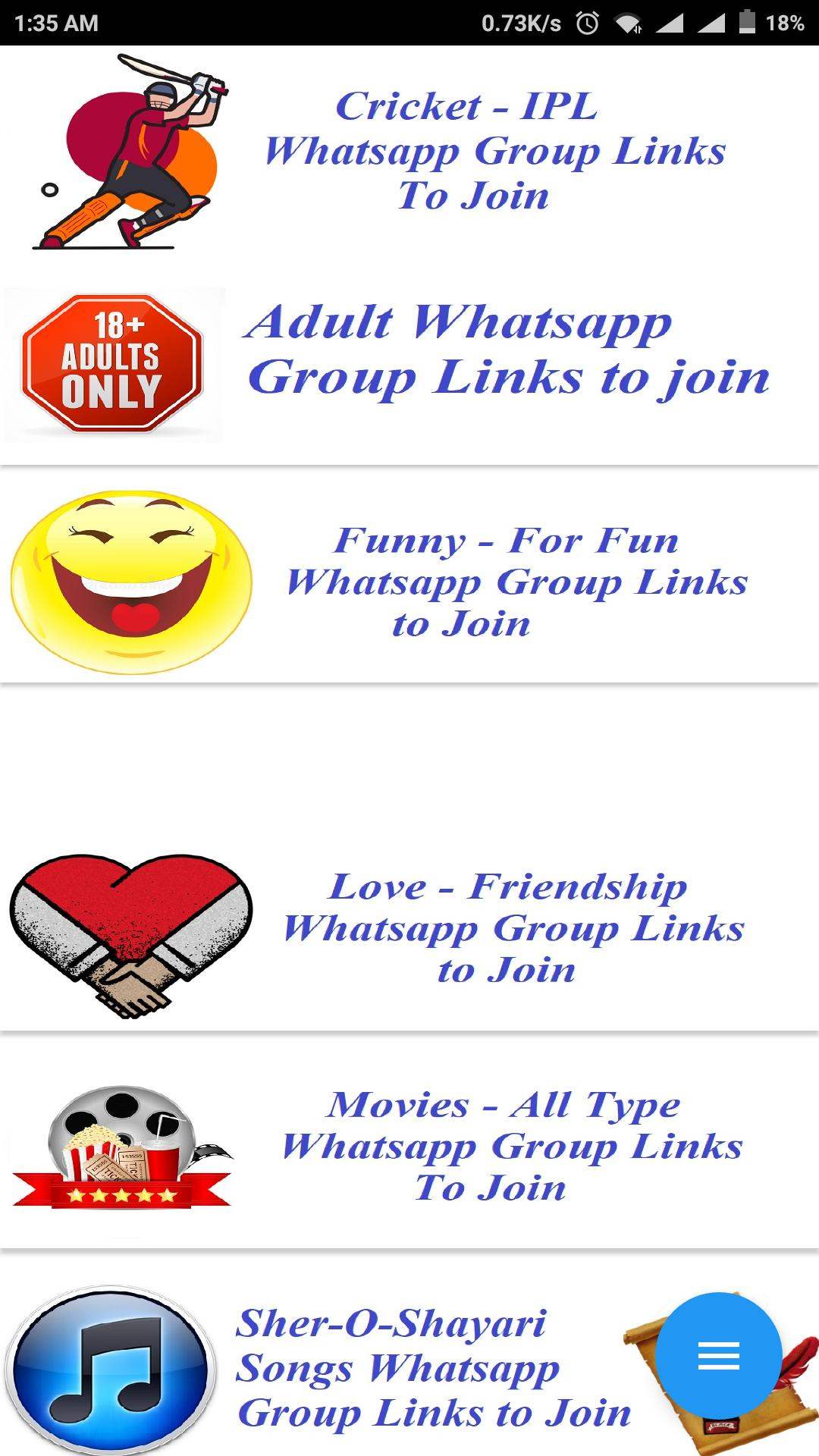 Whatsapp Group Links - Adult Whatsapp Group Links cho Android - Tải