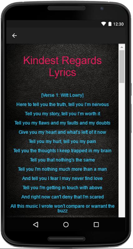 Witt Lowry Kindest Regards Lyrics
