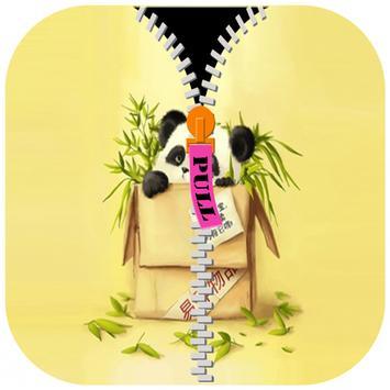 Panda Cute Zipper Screen Lock poster