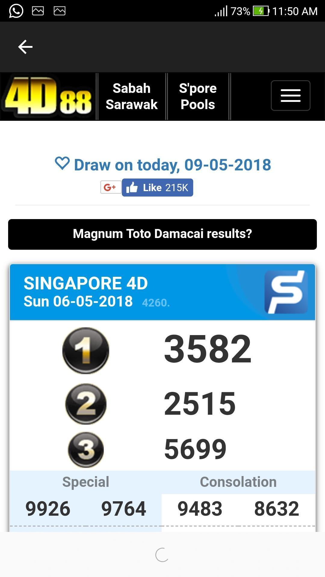 Toto Result 2018