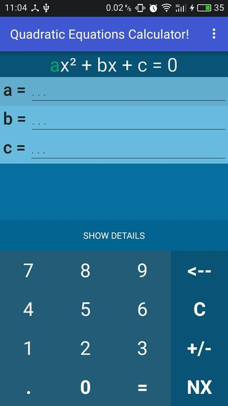 Quadratic equation, details for Android - APK Download