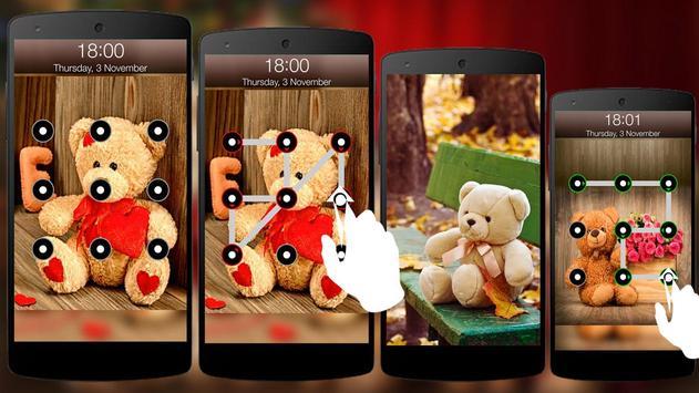 Teddy Bear Pattern Screen Lock poster