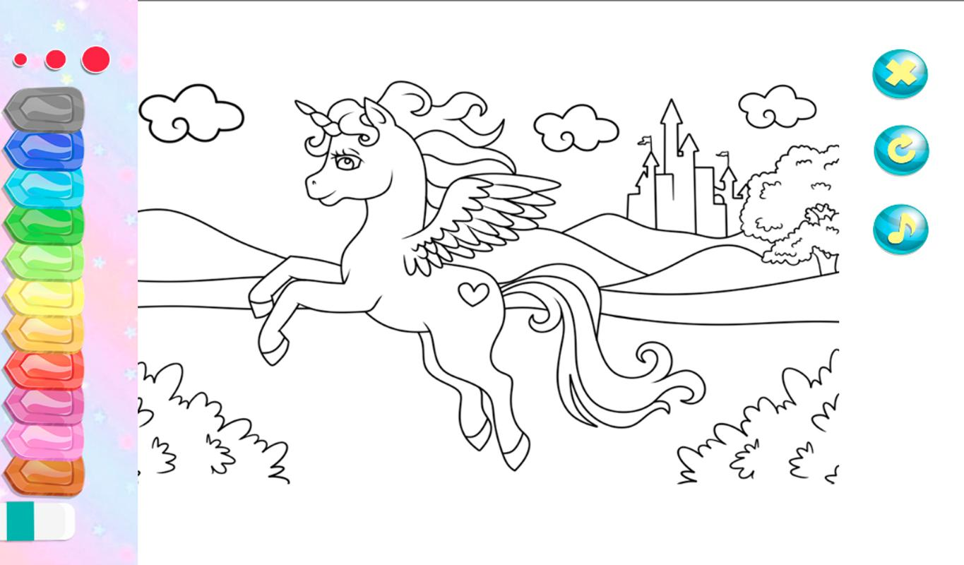 Unicorn coloring pages games horse colors скриншот 4