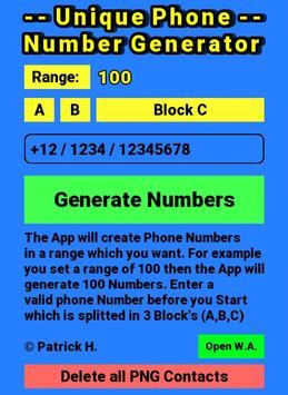 Unique Phone Number Generator poster