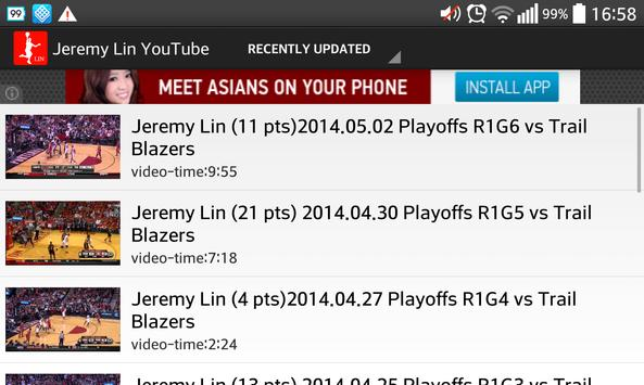 Jeremy Lin Game Log poster