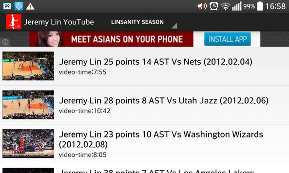 Jeremy Lin Game Log screenshot 11