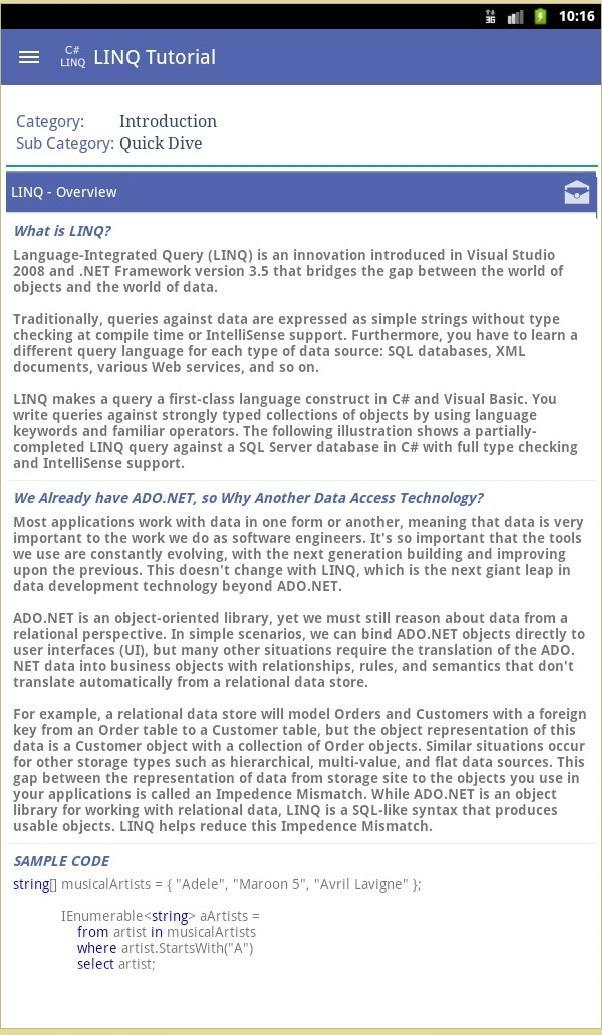 C# LINQ Tutorials for Android - APK Download
