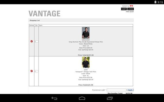 Vantage Apparel apk screenshot