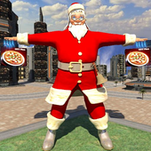 Bicycle Santa Christmas Pizza Delivery icon