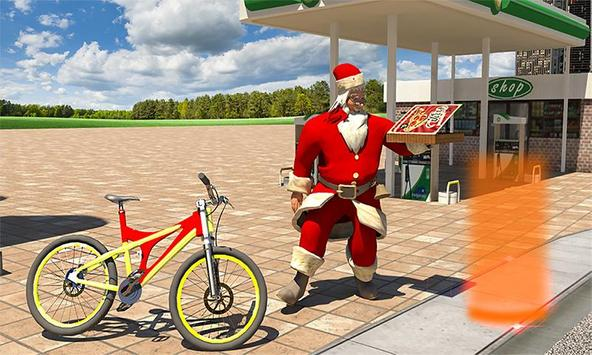 Bicycle Santa Christmas Pizza Delivery poster