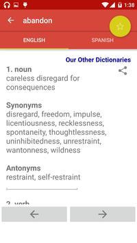 Offline English Spanish Dictionary apk screenshot