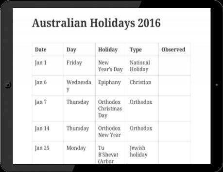 Australian Holidays 2016 screenshot 2