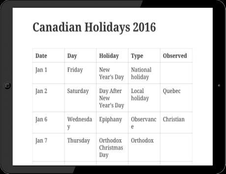 Canadian Holidays 2016 apk screenshot