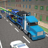 3D Car transport trailer truck icon