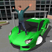 Crime race car drivers 3D icon