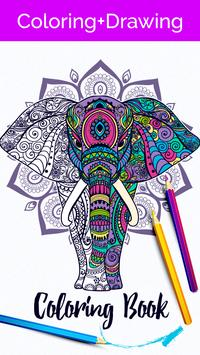 Animal coloring poster