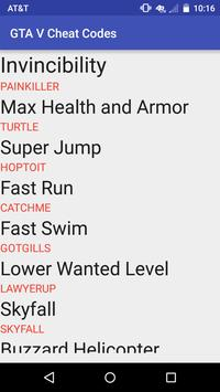 All Cheat Codes for GTA V screenshot 1