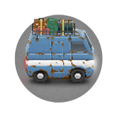 Rusty Bus: Flat tire run - One-tap Survival runner icon