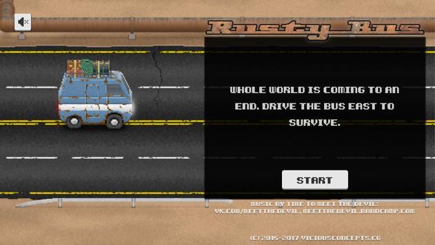Rusty Bus: Flat tire run - One-tap Survival runner poster
