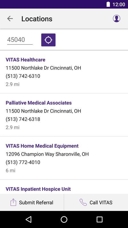 vitas hospice referral app for healthcare pros apk screenshot