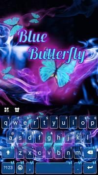 Blue Butterfly Free Emoji Keyboard poster