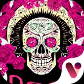 Red Rose Skull Free Emoji Keyboard icon