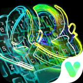 Icona Neon Music Headphone Keyboard Theme