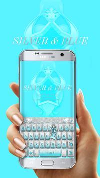 Mermaid Blue Silver Free Emoji KikaKeyboard screenshot 1
