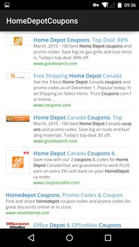 Coupons for Home Depot poster