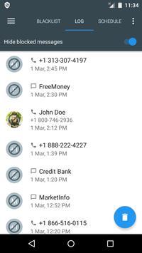 Bloqueador de llamadas y SMS - Calls Blacklist captura de pantalla 3