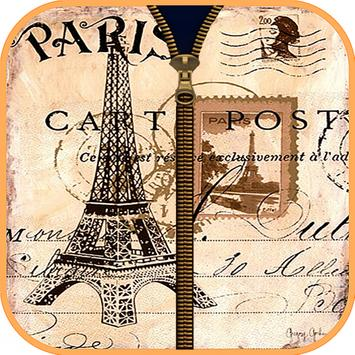Cute Paris Zipper Screen Lock poster